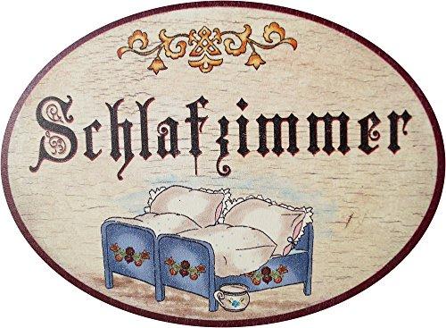 Kaltner Präsente Geschenkidee - Holz Türschild im Antik Design Motiv SCHLAFZIMMER (Ø 18 cm)