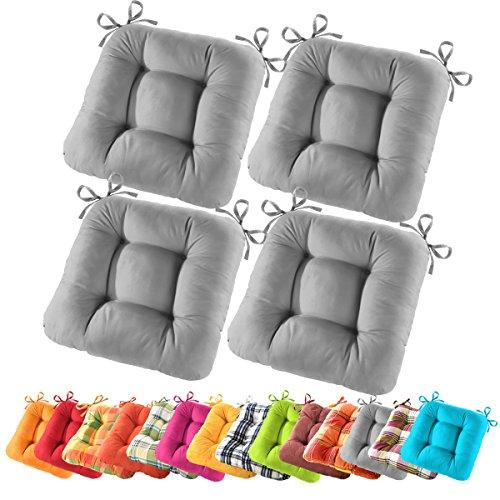 4er Set Gräfenstayn Sitzkissen Stuhlkissen 40x40x10cm in verschiedenen Farben Steppkissen (Anthrazit)