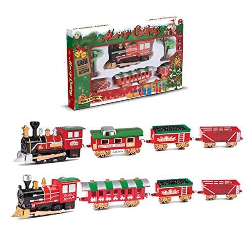 ColiCor Weihnachten Modelleisenbahn Lokomotive H0,Elektrische Eisenbahn Set mit Licht und Musik Für Kinder