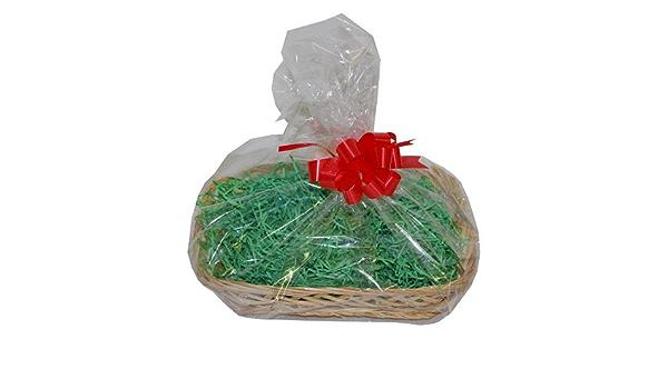 Medium Cream Wicker Christmas Hamper Gift Wrap DIY Kit Shredded Paper Ribbon Bow 300mm x 230mm x 50mm