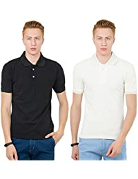 Thriller Frog Solid Men's Polo Neck Black And White T-Shirt
