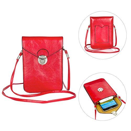 Moon mood Handy Umhängetasche Rot, Phone Tasche, Handy Umhängetasche Mädchen, 6.3 Zoll PU Leder Universal Handytasche Geldbörse Kleine Tasche für Kinder iPhone X 8 Plus 7 Plus 6 6S Galaxy S8 S8 Plus