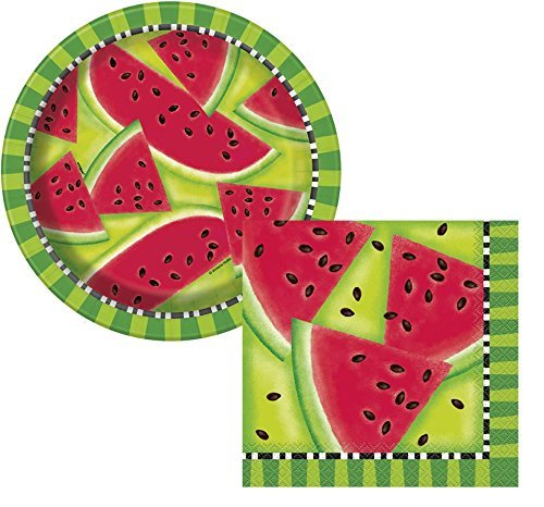 Sommer Wassermelone Pappteller & Wassermelone Servietten-Sommer Party, BBQ, Picknick-Dient 8