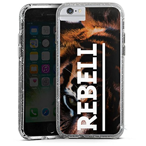 Apple iPhone 8 Bumper Hülle Bumper Case Glitzer Hülle Rebell Rebel Tiger Bumper Case Glitzer silber