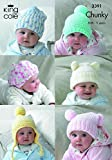 King Cole 6 Baby Hats Comfort Chunky Knitting Pattern 3391 by King Cole