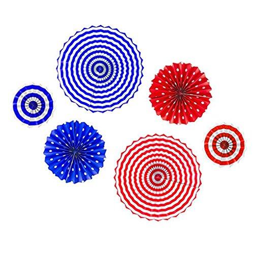 Arichtop Wellen-Punkt-Streifen-Muster-Papier Fan Runde Folding Hängende Fans für Porch Baum Home Decor Party Supplies