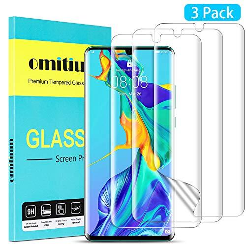 omitium Pellicola Protettiva per Huawei P30 Pro, [3 Pezzi] Protezione Schermo Huawei P30 Pro [Copertura Massima] HD Clear Senza Bolle...