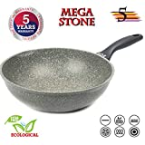 Oursson Korea Stone Premium Wok, 5 years warranty, Non-stick, 28 cm | Suitable for All Cooking Ovens: Gas, Electric, Induction & Ceramic, Gray, KWW2821MS