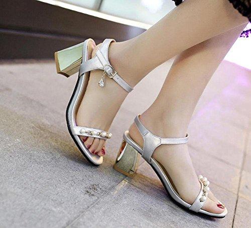SHIXR Frauen Open-Toed Pumps Perle Sandalen Open Toe Wort Schuhe Ferse Court Schuhe Gold Silber Schwarz Silver