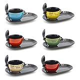 Keramik Suppenschüssel mit Löffel und Teller erhältlich in verschiedenen lebendigen Farben gelb