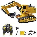 SHZJ SimulacióN Amarillo Tractor Recargable Modelo RC Excavadora Mini Truck Construction Gifts ABS Juguete Infantil 10 Canales PortáTil para NiñOs Regalos Juego Adulto