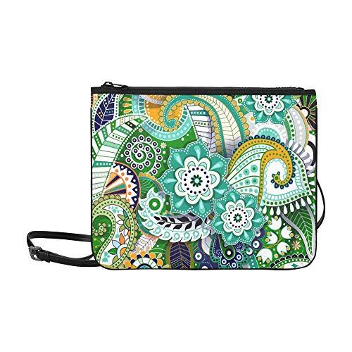 WYYWCY Green Paisley Ornamental Shadow Benutzerdefinierte hochwertige Nylon Slim Clutch Crossbody Tasche Umhängetasche