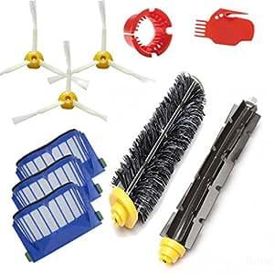 Pulizia Robot Kit di ricambio Parte - Kingwo robot di pulizia di accessori Da Roomba Serie 650 Cacuum detergente con 1X Setola Spazzola, 1X Beater Brush, 3X Spinning Spazzola laterale, Filtri 3X AEROVAC, 1 pacchetto di strumenti di pulizia