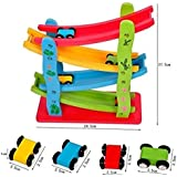 Imported Wooden Zigzag Click Clack Car Race Track Slider Speed Running Game Toy For Kids With 4 Cars