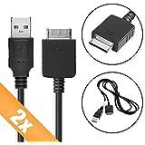 2x subtel® Câble de données USB (1m) pour Sony Walkman NWZ-E585 / NW-ZX2 / NWZ-F886 / NWZ-E584 / NWZ-S764 / NWZ-A846 (Sony mp3 Connector vers USB A (Standard USB)) Câble Data USB noir