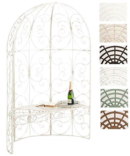 CLP Eisen-Gartenbank Rosie mit Überdachung   Bank mit 2 Sitzplätzen   Dekorativer bepflanzbarer Gartenpavillon mit Bank   Eisen-Laubenbank erhältlich Antik Creme