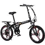 DPGPLP Mountain Bike da 16 Pollici A velocità Pieghevole da 20 Pollici - Studente per Adulti per Auto Pieghevole per Uomo E Donna Pieghevole per Smorzamento della Bicicletta,Nero,16inches