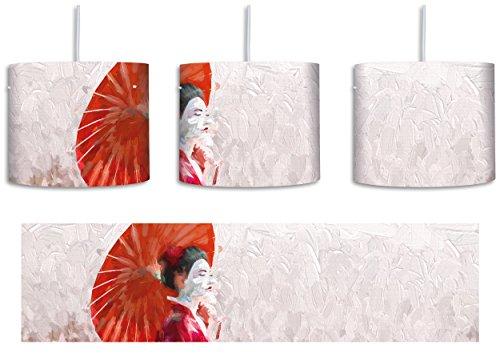 Geisha auf dem Feld Kunst Pinsel Effekt inkl. Lampenfassung E27, Lampe mit Motivdruck, tolle Deckenlampe, Hängelampe, Pendelleuchte - Durchmesser 30cm - Dekoration mit Licht ideal für Wohnzimmer, Kinderzimmer, Schlafzimmer