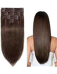 Extensions en Cheveux Naturels a Clip Raide - Epaisseur Moyenne - 100% Remy Human Hair - 8 Pcs (#4 MARRON CHOCOLAT, 50cm-105g)