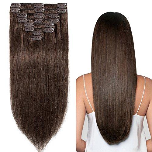 Clip in Extensions Echthaar günstig Haarverlängerung Remy Echthaar 8 Tressen 18 Clips Glatt 60cm-120g(#4 Schokobraun)