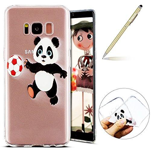 Kompatibel mit Handyhülle Galaxy S8 Plus Schutzhülle Silikon hülle Transparent Ultradünn Clear Cover Handytasche Weich Durchsichtig Klar Schutzhülle Case Cover Tasche,Fußball Panda