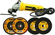 DEWALT Combo of DW801 850Watt 100mm Heavy Duty Small Angle Grinder and 2x DW8060 Cut off Wheel & 2x DT3440