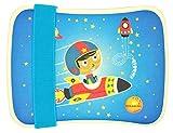Bento Lunchbox Set aus Bambus für Kinder mit elastischem Stoffband – Perfekt für Sandwich und Snacks – Für Schule oder Kindergarten – Mit gratis Tasche – Spülmaschinen fest und BPA-frei – Öko und umweltfreundlich (Astronaut)