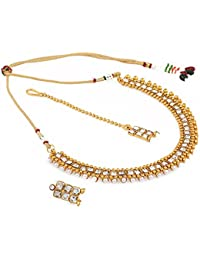 Aradhya Traditional Designer Kundan Necklace Set With Earrings And Maang Tikka For Women And Girls