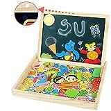 Symiu Magnetisches Holzpuzzle Doppelseitiges Magnettafel Holzspielzeug Tier Puzzle aus Holz Tafel Staffelei Geschenk für Kinder ab 3 4 5 6 Jahre (MEHRWEG)