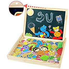Symiu Lavagna Magnetica per Bambini Puzzle Legno Alfabeto Animali y Figure Jigsaw Puzzle Lavagna Bianca per Bambini 3 4 5