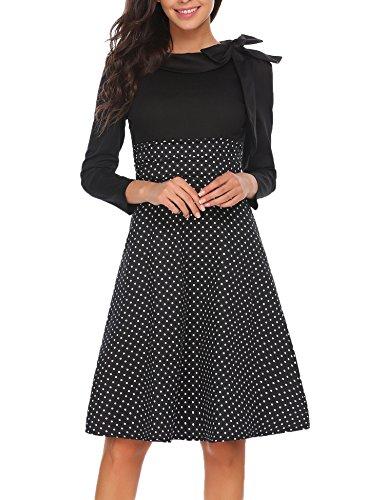 Meaneor Damen 50er Vintage Rockabilly Kleid Elegant Abendkleid Cocktailkleid Polka Dots Langarm Kleid Kontrastfarbe Hersbt Winter mit Schleife Black