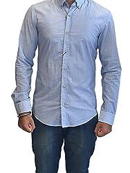 Hugo Boss BOSS Mens Slim Fit Long Sleeve Striped Shirt Blue (Small)