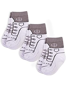 Snocks® Mädchen & Jungs Rutschfeste Baby Socken (6x Paar) Rot, Blau, Grau (0-24 Monate)