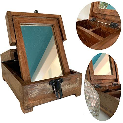 LS-Design Barber Utensilienbox Teak Holz Schmink-Box Rasier Rasur Organizer