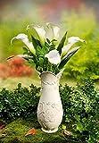 Unbekannt Grabvase Flora Friedhofsvase Steckvase Grabschmuck Vase Kunststein mit Engel Neu