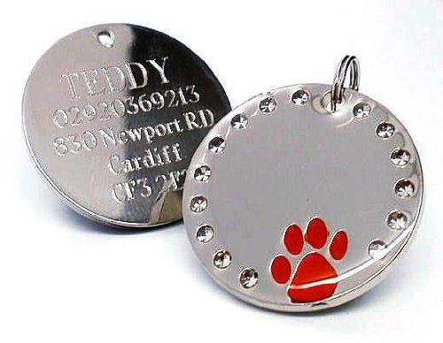 Targhetta incisa identificativa per cani, rotonda in cristallo, progettata per le zampeConsultare i dettagli relativi all'incisione nella descrizione prodotto sottostante.
