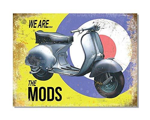 Wise Degree Vespa Scooter We Are The Mods Metall Poster Wand Küche Kunst Cafe Garage Shop Bar Dekoration