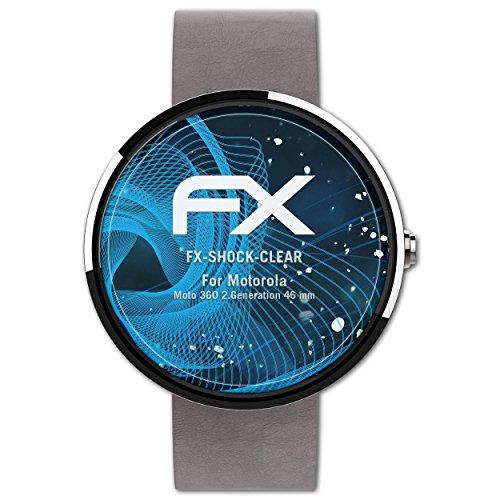 atFoliX Schutzfolie kompatibel mit Motorola Moto 360 2.Generation 46 mm Panzerfolie, ultraklare & stoßdämpfende FX Folie (3X)