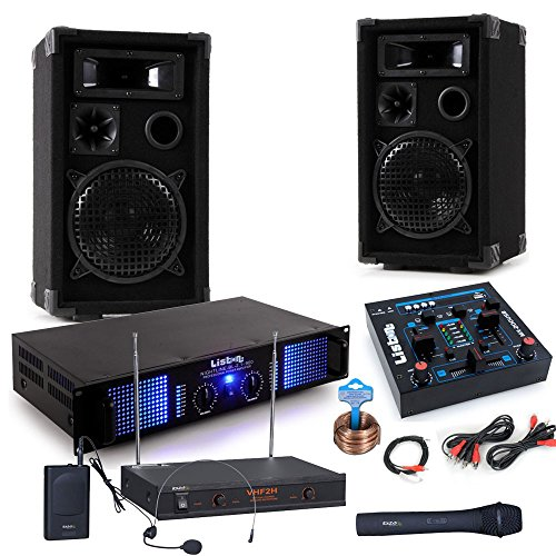 PA Party Musikanlage Boxen 2400 Watt Endstufe USB MP3 Mixer Funkmikrofon DJ-Party 3