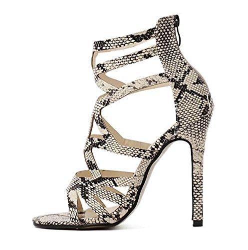 Sommer Stiletto Snakeskin Schuhe öffnen Zehen hohlen Sandalen, Schlangenmuster, 38