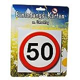 Einladungskarte 50 Geburtstag Packungsware Stopschild 14cm rund 6 Karten mit Umschläge