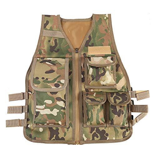 (Tbest Kinder Armee Weste, Kinder Camo/Schwarz Molle Armee Taktische Weste Kostüm Nylon Cs Spiel Kampf Weste Für Kinder Jungen Mädchen (CP))