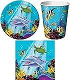 32-teiliges Party Set Meer Delfin Ocean Kindergeburtstag Geburtstag Party Fete Feier 8 Teller, 8 Becher, 16 Servietten