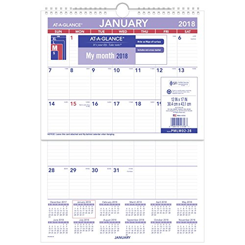 """AT-A-GLANCE Monthly Wall Calendar, January 2018 - December 2018, 12"""" x 17"""", Erasable, Wirebound (PMLM0228)"""