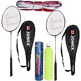 Hipkoo Jonex Ayush Badminton Complete Set (2 Racket, Pack Of 10 Shuttlecocks And Net) Badminton Kit