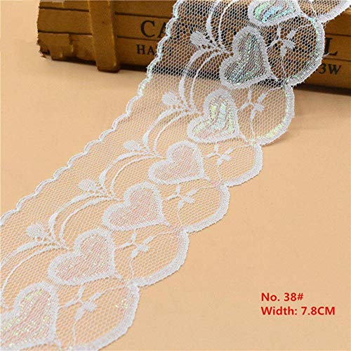LIMMC 10 Yards-weiße Spitze-Band-Dekoration Band Trim Stoff Kleidung Gestickte Schnur für Nähen Dekoration Afrikanischer Spitze-Gewebe, NO 38 Breite 7.8cm -