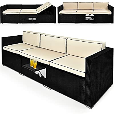 Rattan Garden Sofa Bench Black Day-Bed Outdoor Patio Conservatory Comfortable Recliner Bed Chair Lounger Wicker Furniture - low-cost UK light store.