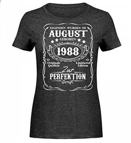 Shirtee Hochwertiges Damen Melange Shirt - Legenden August Geburtstag 1988 Dunkelgrau Meliert