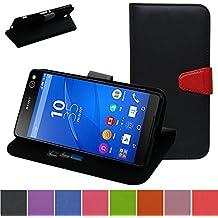 Sony Xperia C5 Ultra Funda,Mama Mouth PU Cuero Billetera Cartera Monedero Con Soporte Funda Caso Case para Sony Xperia C5 Ultra E5506 E5533,Negro