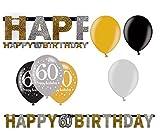 Feste Feiern Geburtstagsdeko Zum 60 Geburtstag | 7 Teile Luftballons Girlande Banner Gold Schwarz Silber Party Deko Set Happy Birthday